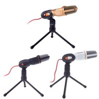 Wholesale 3 MM Wired MIC Stereo Condenser Microphone Sound Podcase with Holder Clip Tripod for Studio Chatting Singing Karaoke PC Laptop SF