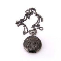 antique gun cases - Vine jewelry Hot sale fashion large sized gun black owl case necklace quartz pocket watch