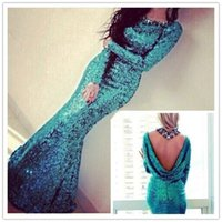 peacock dress - Peacock Blue Sparkly Sequins Sexy Long Sleeve Evening Dresses with Cowl Back Custom Make Crew Full length Mermaid Prom Dresses