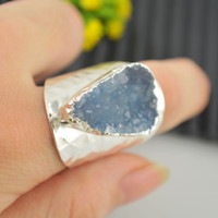 Wholesale New Silver Plated Druzy Drusy Quartz Stone Charms Rings Jewelry Finding Gift