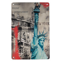 Wholesale Statue of Liberty Vintage Stamp Metal signs wall decor House Office Bar Decor CM Tin Signs Painting