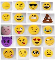 Wholesale fashion Diameter inch designs Cute Emoji Cushion Smiley Pillows Stuffed Plush Toy Yellow Round Pillow Cartoon Cushion Pillows D535