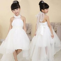 Girl Ribbon Chiffon Free Shipping 2015 Flower Girl Dress for Wedding Party New Style Halter Princess Dresses for Children Formal Clothes White Ball Gown Dresses