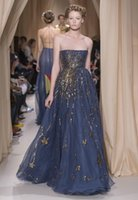 Cheap 2015 Valentino Sping Summer Prom Gowns Royal Blue A Line Strapless Sequined Chiffon Evening Dresses