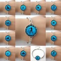 aquarius blue - Zodiac Picture Blue Moon Alloy charm Bangle Bracelets Astrology Horoscope Jewelry Bracelets Aquarius Capricorn Sagittarius