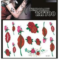 rose tattoos - waterproof red lip rose tattoos stickers temporary tattoo body tattoos shoulder stickers women neck tattoos