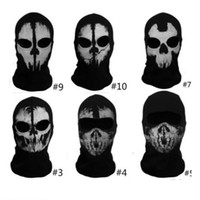 Wholesale Ghost Skull Full Face Mask Cosplay Balaclava Paintball Outdoor CS Hood WarGame Airsoft Hunting Army Tactical Masks