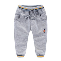 baby blue sweatpants - winter Boys baby pants coral velvet knitting sweatpants color Soldiers embroidery Warm Thickening trousers