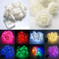 Wholesale 20 LED Battery Operated Rose Flower Bedroom Fairy Lights m Warm White Blue Red pink purple EMS free