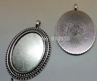 Wholesale New Inner x29mm Alloy Metal Antique Silver Blank Tray Base Cameo Cabochon Bezel Pendant Settings