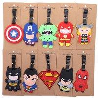 age tags - Super Hero Luggage Tag PVC Toys Portable Suitcase Bag Tag Batman Superman The Flash Hulk Spiderman Thor