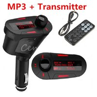 Wholesale Universal mm Car Auto Kit Stereo Audio Socket In Car Red LCD With USB MMC LCD FM Transmitter Radio Modulator Remote Control