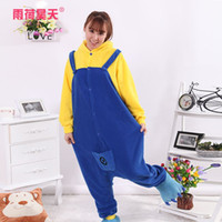 Wholesale mascot Adult Despicable Me Minion pajama women men animal onesies cartoon hoodie pyjamas Halloween party costume sleepwear