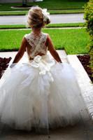 artificial ankles - Wedding Girls Princess Dress for Flower Girls Ball Gowns Cupcake Criss Cross Straps Artificial Flowers Ankle Length Flower Girls Dresses