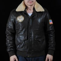 avirex flight jacket - USA AVIREX Genuine Leather jackets wool sheep skin collar lapel men Force flight jackets motorcycle jackets