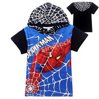 Boy factory direct clothing - 2015 Spiderman Boys Cartoon T Shirt With Hoody Summer Children Clothing Kids Costume Top Baby Wear Year Cotton Factory Direct DHL