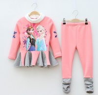 Wholesale Hot Frozen Elsa Anna Girls Outfits Long Sleeve Fleece T Shirts Trousers Set Girl s Suits Childs Children Clothing Pink Gray J2035