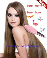 Wholesale White Pink Fast Hair Straightening Irons Come With LCD Display Electric Straight Hair Comb Brush Styling Tools UK US EU Plug Harmless