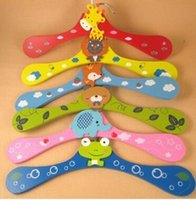 Wholesale 300pcs New Cute Cartoon Animals Wooden Kids Clothes Hanger Baby Children Hanger Styles