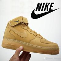 pu - Nike Air Force Mid PRM QS FLAX Wheat Men Ane Women Sneakers Shoes Sizes