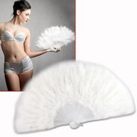 Wholesale White feather wedding party ball lady folding hand fan Fancy Elegant Props Phantom wedding decoration Halloween mask feather fan