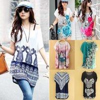 Wholesale Fashion Women Dresses Ice Silk Dress Autumn Summer Womens Loose Flower Print Long T Shirt SV003118
