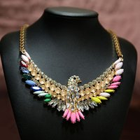 Cheap 2016 new High Quality Women Luxury Costume Fashion Chunky Necklaces & Pendants Chokers Crystal birds Gorgeous Statement jewelry