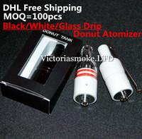 Cheap DHL Free Black Glass White Donut Cearamic Atomizer huge vapor donut atomizer for wax no coil no wick ceramic heating element vaporizer ecigs