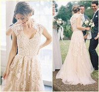 Cheap Designer Country Style Wedding Dresses 2016 New Arrival Colored Lace A line Cap Sleeve V Neck Appliques Tulle Modest Boho Bridal Gowns New