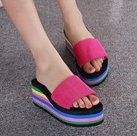 Cheap Rainbow Candy Shoes Woman Platform Sandals and Flip Flops Beach Slippers Wedge Sandal High Wedge Shoe New Flat Flip-Flops