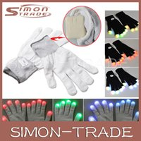 Wholesale Flashing Fingertip Light Mode LED Glow Gloves Mittens Costumes Rave Party Skating Riding For Party Decorations