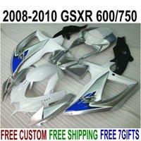 Wholesale Silver Blue Gsxr Fairings - High quality fairing kit for SUZUKI GSXR750 GSXR600 2008 2009 2010 K8 K9 blue silver white fairings set GSXR 600 750 08-10 TA13