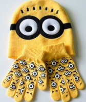 Wholesale 2015New style Minion wool hats crochet pattern Despicable me Children cartoon winter knitted caps and gloves one set kids