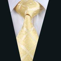 al por mayor juegos de negocio amarillo-Energía amarillas corbatas de seda jacquard tejida corbata para hombre 8,5 cm Anchura del asunto del trabajo del lazo del juego D-1036