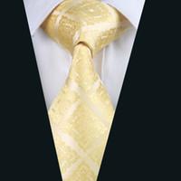achat en gros de costumes d'affaires jaunes-Énergie jaune Cravates en soie jacquard tissé cravate des hommes d'affaires 8.5cm Largeur de travail Costume habillé Cravate D-1036