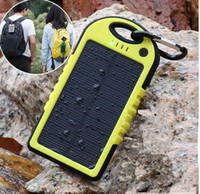 Wholesale 5000mAh solar power Charger and Battery solar panel waterproof shockproof Dustproof portable power bank for Mobile Cellphone Laptop Camera