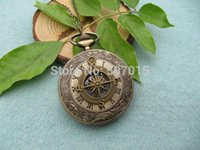 antique nautical compass - 10pcs Victorian Compass nautical pirate pocket watch necklace jewelry Gift Vine Style