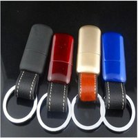Wholesale Hot Fashion Portabale Leather Pendant Keychain Striker Flame Lighter Key Chain four colors new srtyle lighters