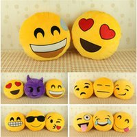 Wholesale 2016 Styles Hot new Soft Cute Emoji Smiley Emoticon Yellow Round Cushion home Pillow Stuffed