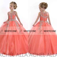 kids prom dresses - Rechal Allan Kids Prom Dresses Sheer Crew With Applique Beads Crystal Gall Gown For Little Girls Coral Pageant Dresses For Little Girls
