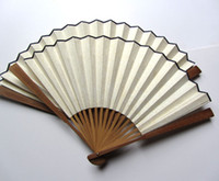 white rice - High Quality Plain White color Rice Paper Hand Fans bamboo joint inch Gift Foldable Fan