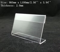 Wholesale 100x65mm Clear Acrylic Thick mm Plastic Sign Display Paper Label Card Price Tag Holder Stand On Table L Shape High Quality