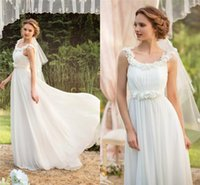 Cheap 2015 Chiffon Beach Wedding Dresses A line Spring Summer Boho Romantic A line Garden Bridal Party Gowns Cheap Custom Free Shipping