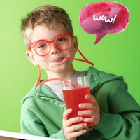 Wholesale 2015 New Design Colors Children s Fun Drinking Straws Drinking Flexible Soft Glasses Straw Best Gift For Children GJ619