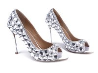 Formal ballet beads - Fashion Luxurious Beads Rhinestones wedding shoes silver evening shoes High Heel Bridal Shoes Party Prom Women Shoes bridal shoes