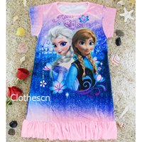 nighties - Frozen Pyjamas For Girls Children s Anna Elsa Alof Pyjama Cartoon Sleepwear Baby Kids Princess Nightie Nightgown Drop Shipping DHL Free