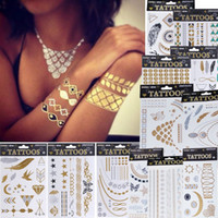 Wholesale Hot Fashion Women Men Jewelry Metallic Gold Silver Temporary Tattoos Jewelry Flash Body Bling Stickers