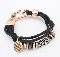 Wholesale Fashion Punk Style Bracelet For Men and Woman Weaven PU Leather ancient silver pendant bracelet Mix Colors