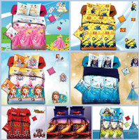Wholesale 200SET Cotton Baby kid Cartoon Minions Frozen Car Mickey Pattern Bedding Set bed linens bed cover duvet cover Home Textile
