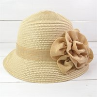 Cheap New Arrival Stingy Brim Hats Summer Sun Protection Flower Bucket Hat For Women Cheap Breathable Short Brim Straw Hat w087